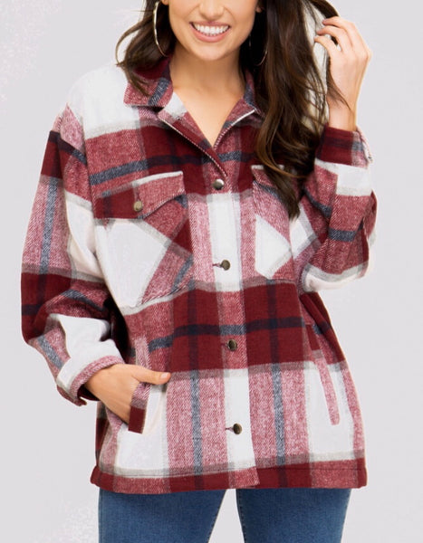 Cranberry Plaid Flannel Shirt/Jacket