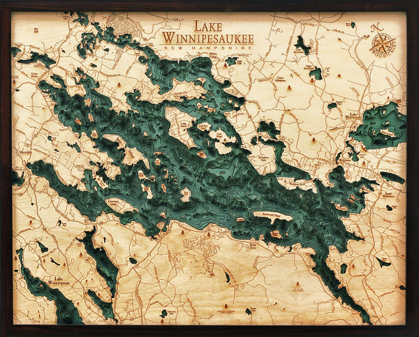 Lake Winnipesaukee 3-D Nautical Wood Map