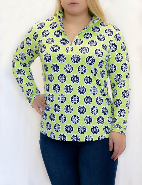 Lime and Navy Medallion 1/4 Zip