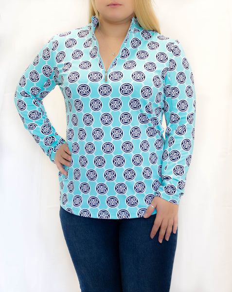 Turquoise and Navy Medallion 1/4 Zip