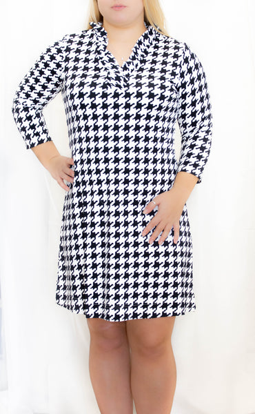 Black/White Herringbone 3/4 Sleeve Ruffle Neck Dress