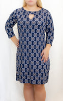 Navy/Tan Medallion 3/4 Sleeve Keyhole Dress