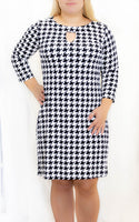 Black/White Herringbone 3/4 Sleeve Keyhole Dress