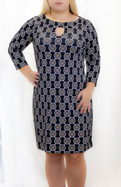 Black/Tan Medallion 3/4 Sleeve Keyhole Dress