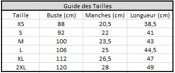 guide des tailles - tee shirt