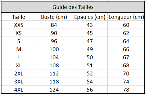 Guide des tailles Vestes Teddy The Walking Dead