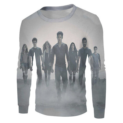 Pull Teen Wolf Personnages Gris - S