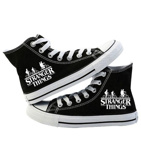 Chaussures montantes Stranger Things Logo Noir et Blanche