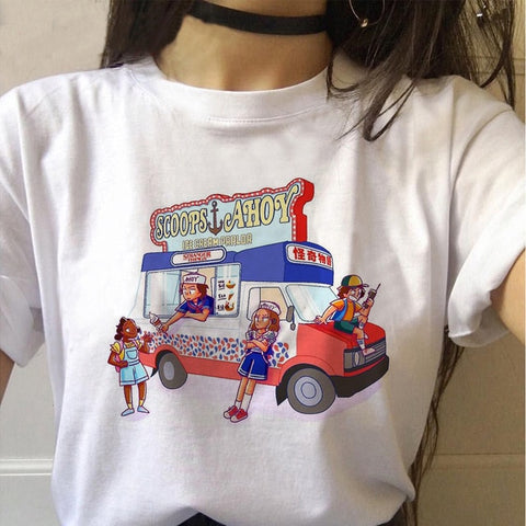 Tee Shirt Stranger Things Scoops Ahoy Bus - L