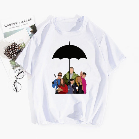 T-shirt The Umbrella Academy Personnages Dessinés sous Parapluie