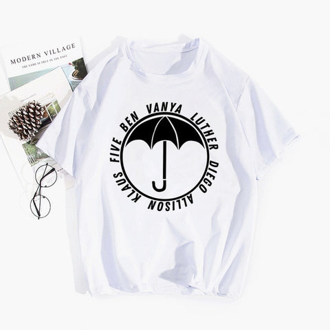 T-shirt The Umbrella Academy Prénoms Parapluie Blanc