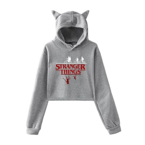 Sweat à capuche Gris Oreille de Chat Stranger Things - Crop Top