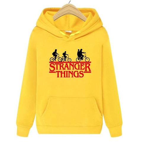 Sweat à capuche Stranger Things Jaune Logo - Unisexe - S