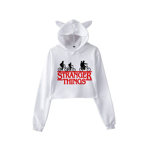 sweat stranger things crop top blanc