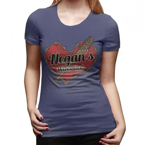 T-Shirt The Walking Dead Negans Wives Club - Femme - Bleu marine / XL