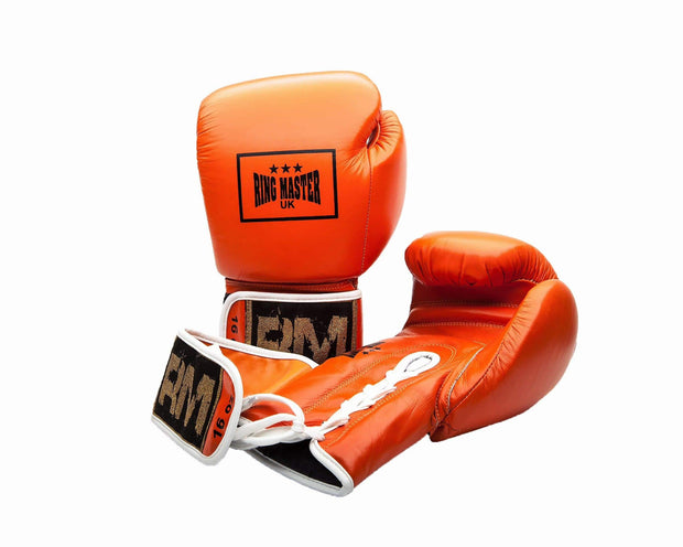 RingMaster Sports Boxing Gloves Genuine Leather Orange  image 1