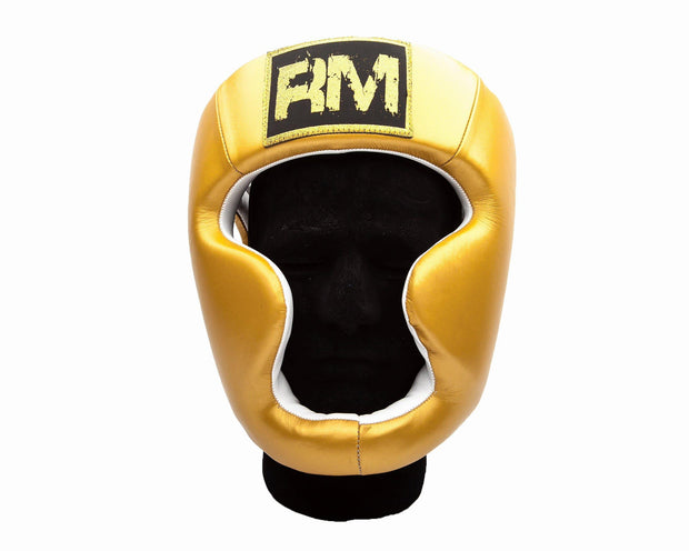 RingMaster Sports Boxing HeadGuard Genuine Leather Gold Image 3