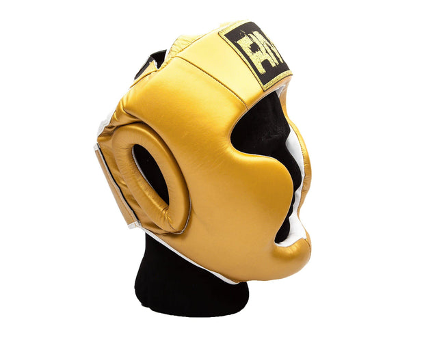 RingMaster Sports Boxing HeadGuard Genuine Leather Gold Image 4