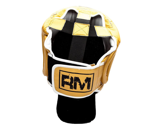 RingMaster Sports Boxing HeadGuard Genuine Leather Gold Image 1