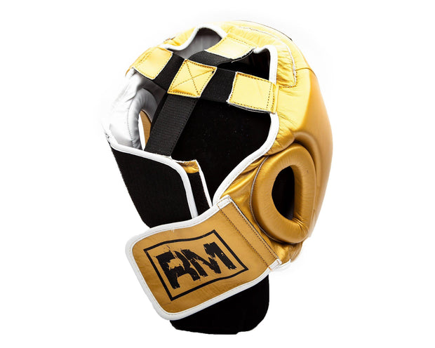 RingMaster Sports Boxing HeadGuard Genuine Leather Gold Image 2
