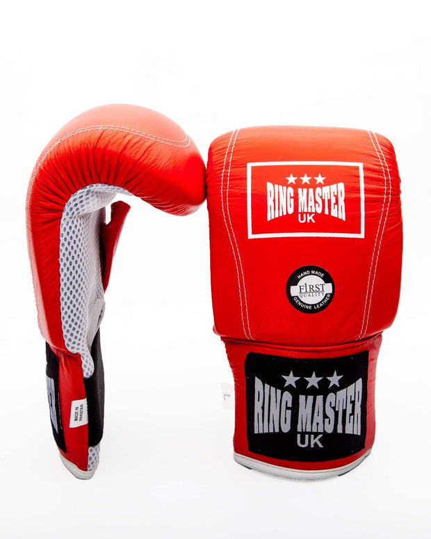 RingMaster Sports Bag Mitts Genuine Leather Red Image 4