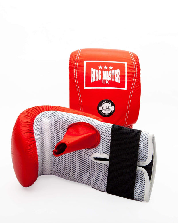 RingMaster Sports Bag Mitts Genuine Leather Red Image 5