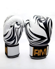 RingMaster Sports Genuine Leather Boxing Gloves White and Red Patterned