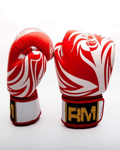 RingMaster Sports Boxing Gloves Genuine Leather White and Red Patterned Image 3