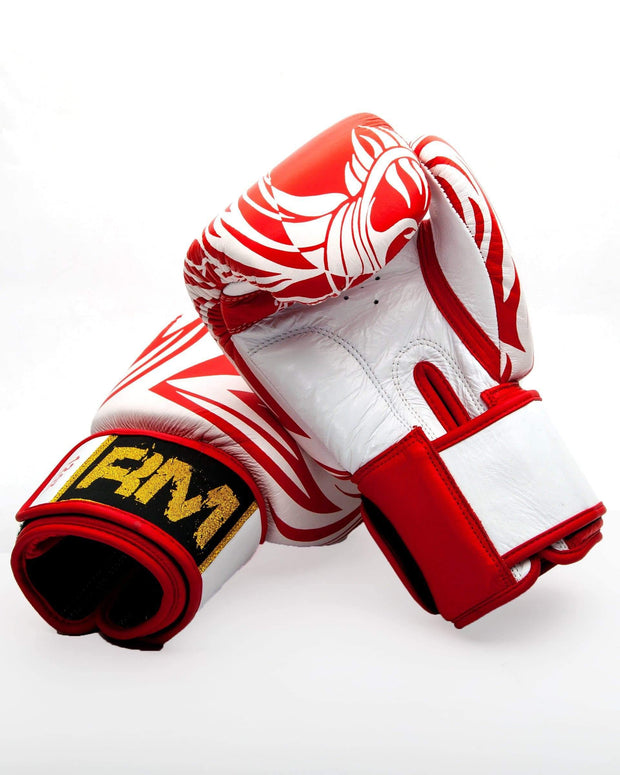 RingMaster Sports Boxing Gloves Genuine Leather White and Red Patterned Image 1