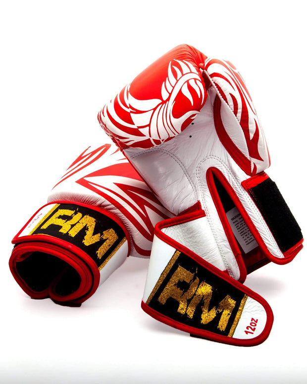 RingMaster Sports Boxing Gloves Genuine Leather White and Red Patterned Image 4