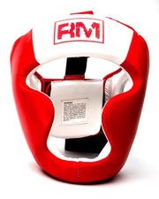 RingMaster Sports Boxing HeadGuard Genuine Leather Red and white image1