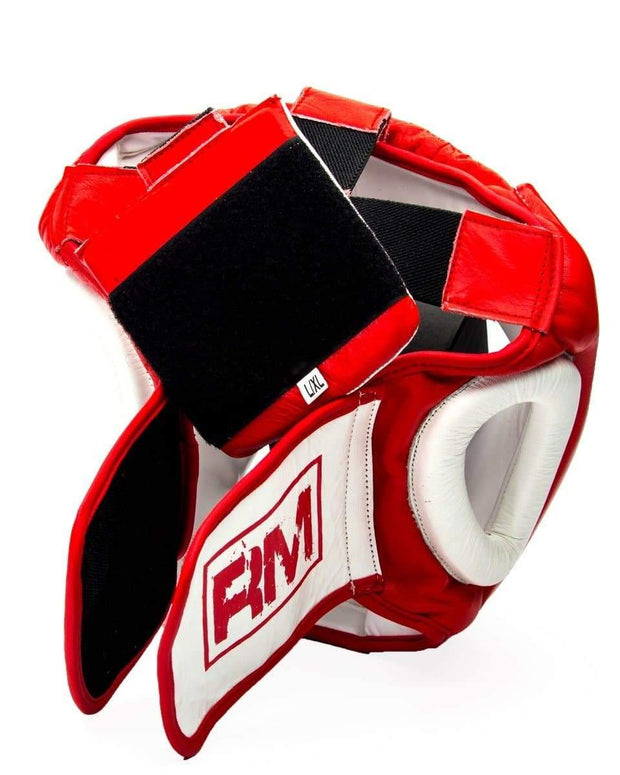 RingMaster Sports Boxing HeadGuard Genuine Leather Red and white Image 3