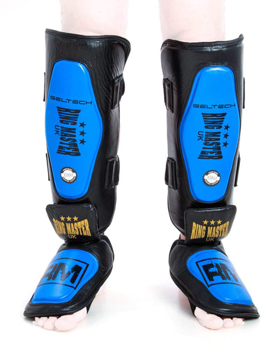 RingMaster UK Shin Instep Guard Genuine Leather Blue and Black Image 5