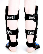RingMaster UK Shin Instep Guard Genuine Leather Blue and Black Image 3