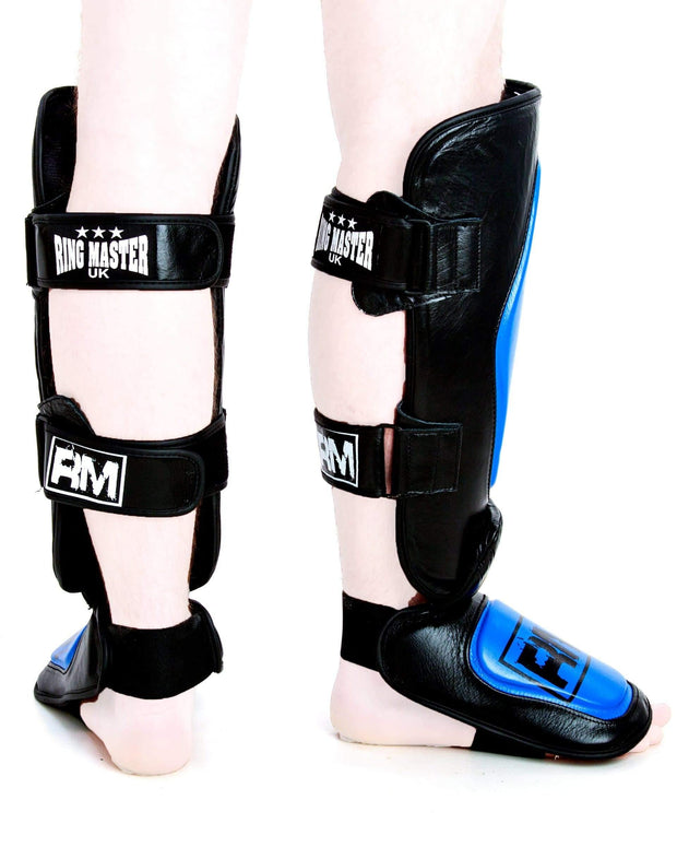 RingMaster UK Shin Instep Guard Genuine Leather Blue and Black Image 1