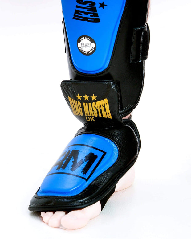 RingMaster UK Shin Instep Guard Genuine Leather Blue and Black Image 2
