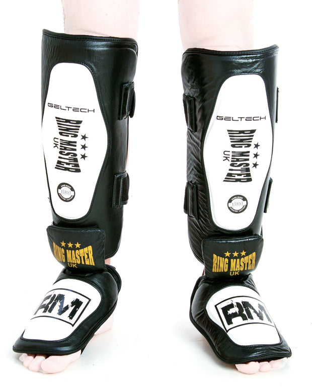 RingMaster UK Shin Instep Guard Genuine Leather White and Black Image4