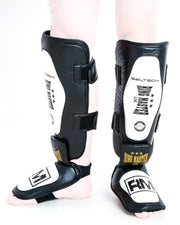 RingMaster UK Shin Instep Guard Genuine Leather White and Black Image3