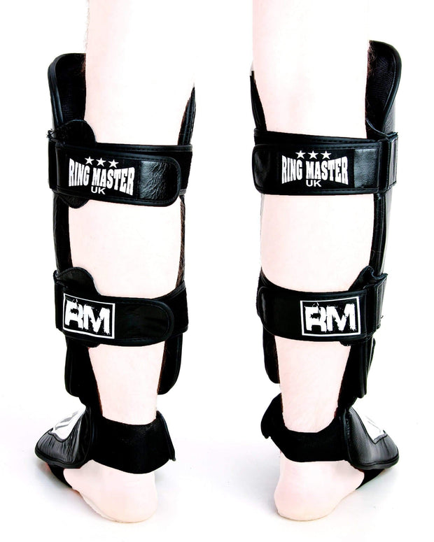 RingMaster UK Shin Instep Guard Genuine Leather White and Black Image1