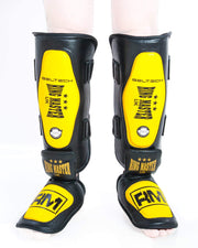 RingMaster UK Shin Instep Guard Genuine Leather Yellow and Black Image 3