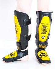 RingMaster UK Shin Instep Guard Genuine Leather Yellow and Black Image 1