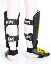 RingMaster UK Shin Instep Guard Genuine Leather Yellow and Black Image 5