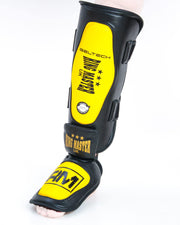 RingMaster UK Shin Instep Guard Genuine Leather Yellow and Black Image 2