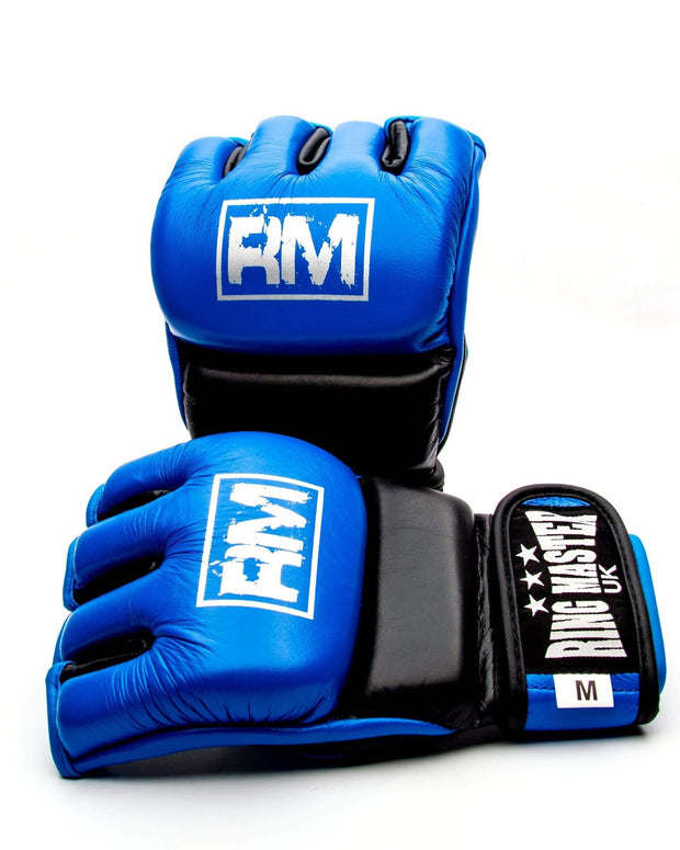 RingMaster Sports MMA Gloves Genuine Leather Blue and Black Image 1