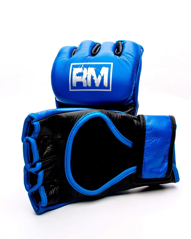 RingMaster Sports MMA Gloves Genuine Leather Blue and Black Image 3