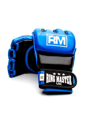 RingMaster Sports MMA Gloves Genuine Leather Blue and Black Image 4