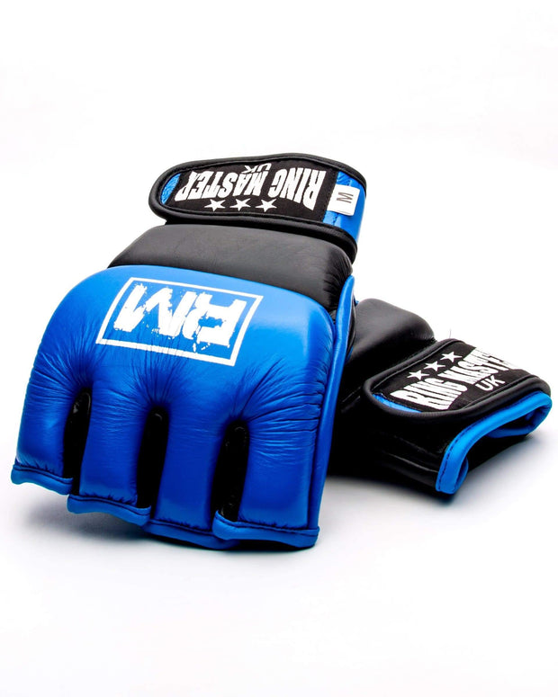 RingMaster Sports MMA Gloves Genuine Leather Blue and Black Image 2