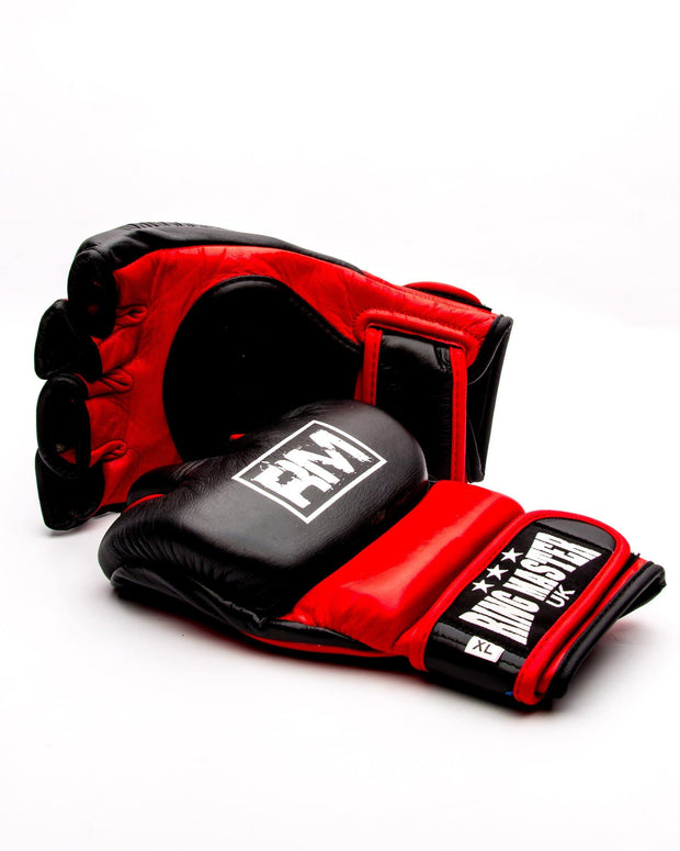 RingMaster Sports MMA Gloves Genuine Leather Black and Red Image 1