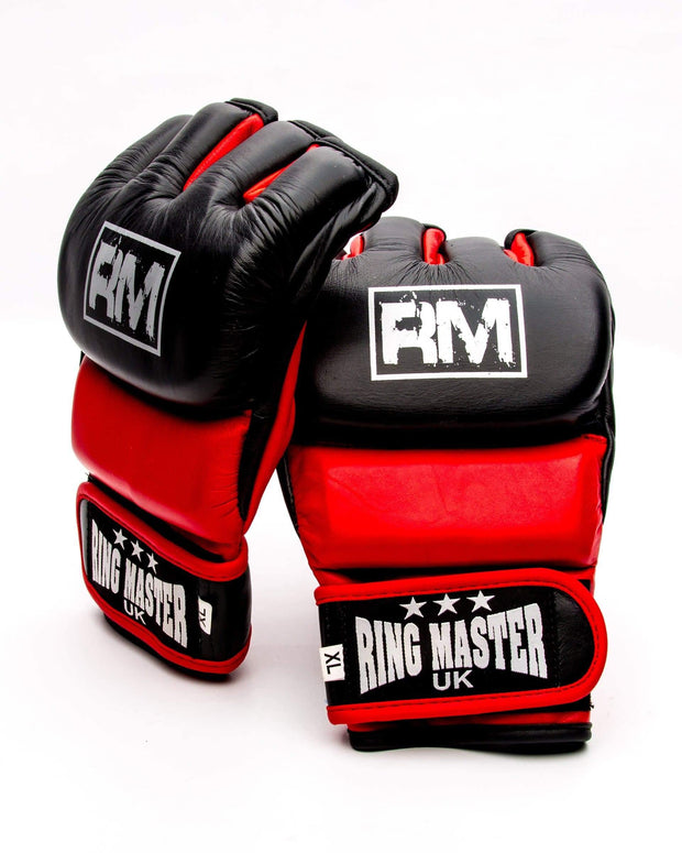 RingMaster Sports MMA Gloves Genuine Leather Black and Red Image 2