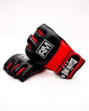 RingMaster Sports MMA Gloves Genuine Leather Black and Red Image 4